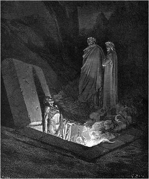 Illustation of Dante and Virgil before Farinata by Gustave Dore