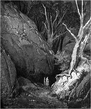 Illustration of Dante and Virgil leaving the dark wood by Gustave Dore