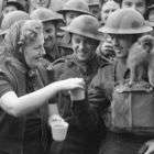 Handing-out tea during war