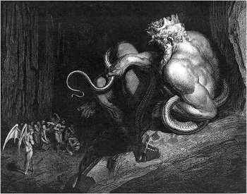 Illustration of Minos judge of the damned by Gustave Dore