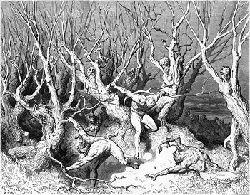 Illustration of Spendthrifts running through the wood of the suicides by Gustave Dore