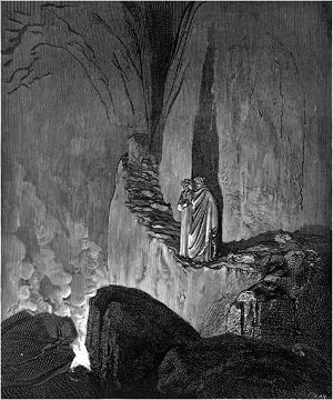 Illustation of virgil addressing the false counsellors by Gustave Dore