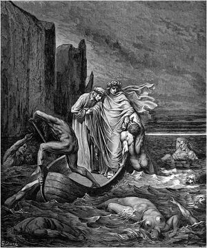 Illustation of Virgil pushing Filippo Argenti back into the River Styx by Gustave Dore